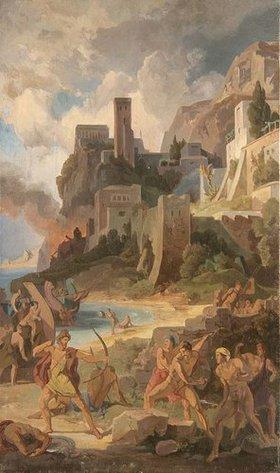 Friedrich Preller d.Ä.: Szene aus der Odyssee: Der Kampf mit den Kikonen