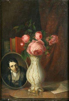 Adolf Heller: Blumenstilleben mit Porträt Ludwig Börnes