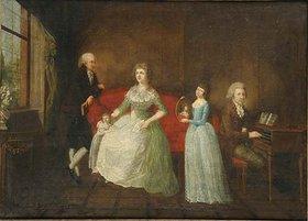 wohl deutscher Maler: Familienporträt in einem Interieur; möglicherweise Familienporträt von Gustav Friedrich Wilhelm Grossmann. Wohl