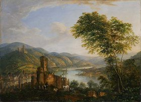 Christian Georg Schütz d.Ä.: Flußlandschaft mit Rheinmotiven. Wohl frühes 19. Jh
