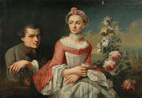 Unbekannter Künstler: Doppelporträt eines Mädchens und eines jungen Mannes in einer Landschaft. Wohl um 1760/70?