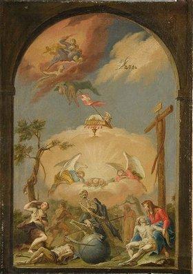 Unbekannter Künstler: Allegorie auf Sünde und Erlösung. Wohl Mitte 18. Jh