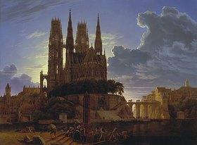 Karl Friedrich Schinkel: Dom über einer Stadt. Nach 1813. (Kopie von K.E. Biermann um 1830)