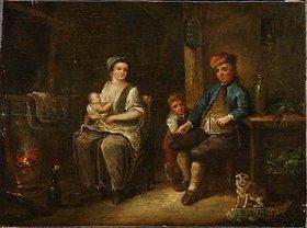 Johann Andreas Benjamin Nothnagel: Interieur mit Bauernfamilie