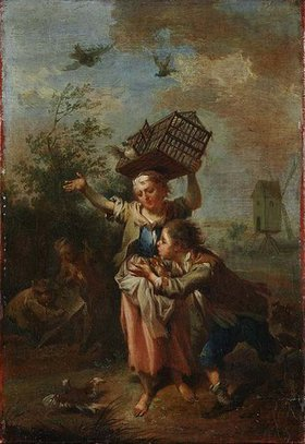 Johann Conrad Seekatz: Ein Mädchen mit Vogelbauer und ein Knabe