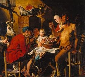 Jacob Jordaens: Der Satyr beim Bauern. Nach