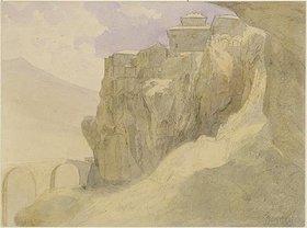Carl Peter Burnitz: Spanische Landschaft, Dorf auf Felsen