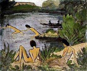 Otto Mueller: Badende Mädchen