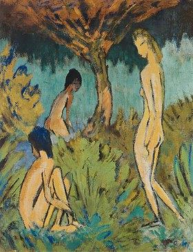 Otto Mueller: Drei badende Mädchen