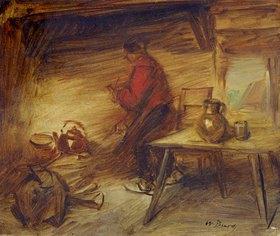 Wilhelm Busch: Bauer in einer Stube. Um 1893. (Rückseite vom Gemälde: Heißer Tag)