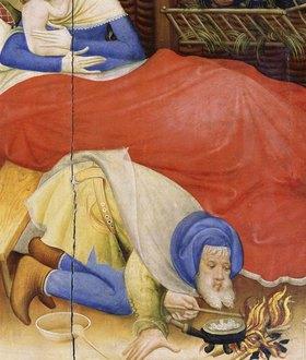 Konrad von Soest: Altarflügel - Links/Detail: Geburt Christi / Joseph bläst Feuer an