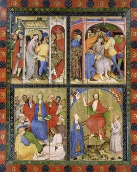 Konrad von Soest: Altarflügel - Rechts: o.li. Vor Pilatus, o.re. Dornenkrönung, u.li. Pfingsten, u.re. Der Weltenrichter