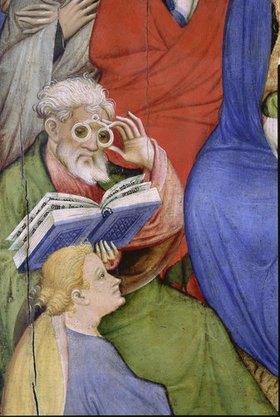 Konrad von Soest: Altarflügel - Rechts/Detail: Pfingsten / Mann mit Brille