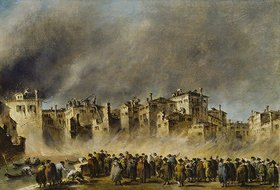 Francesco Guardi: Der Brand im Quartier von S.Marcuola (1789). Lwd., 42,5 x 62,2 cm