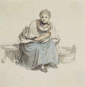 Johann Ludwig Aberli: Sitzende Frau mit Holzbütte