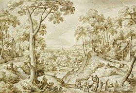 Hans Bol: Landschaft mi dem Propheten Elisa