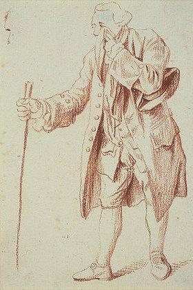 Daniel Chodowiecki: Stehender Mann, in der Rechten ein Stab, in der Linken ein Tuch, mit dem er sich die Tränen trocknet