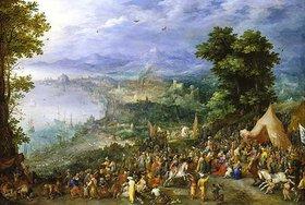 Jan Brueghel d.Ä.: Ansicht einer Hafenstadt (Die Enthaltsamkeit des Scipio). 1600 oder