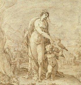 Anton Eisenhoit: Venus und Amor vor Flusslandschaft