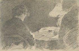 Louis Eysen: Mary und Emma Eysen unter der Tischlampe