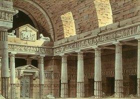 Giorgio Fuentes: Dorische Säulenhalle mit Portal und zwei Sphingen