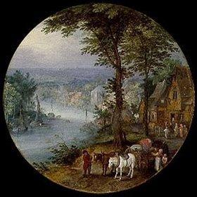 Jan Brueghel d.Ä.: Wirtshaus an der Uferstraße