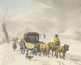 Wilhelm von Kobell: Postkutsche im Winter