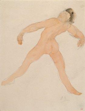 Auguste Rodin: Tanzende mit nach hinten geworfenem Kopf. Aquarell um 1900/1905 30,8x23,6 cm