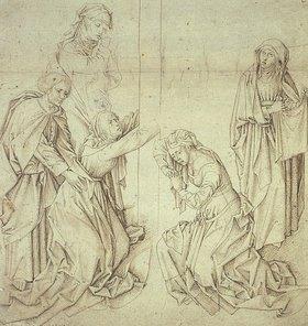 Jan (gen.Mabuse) Gossaert: Fünf weinende Frauen am Fuß des Kreuzes Christi
