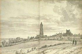 Joris van der Haagen: Stadtansicht mit Kathedrale und einer langen Stadtmauer