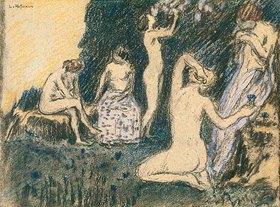 Ludwig von Hofmann: Dekorative Skizze mit fünf Frauen