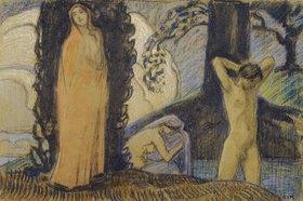 Ludwig von Hofmann: Dekorative Skizze mit zwei Frauen und einem Jüngling