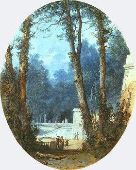 Louis-Gabriel Moreau: Parklandschaft mit hohen Bäumen und steinerner Rampe im Mittlegrund