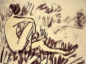 Otto Mueller: Nacktes Mädchen am Wasser sitzend