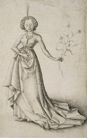 Oberrheinischer Meister: Junge Frau mit Blütenranke