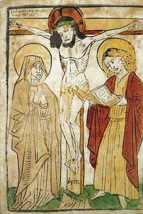 Oberdeutscher Meister: Christus am Kreuz zwischen Maria und Johannes