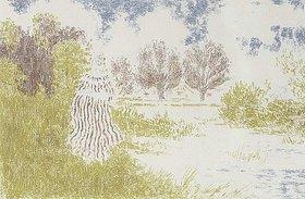 Ker Xavier Roussel: Landschaft mit Frau in gestreiftem Kleid