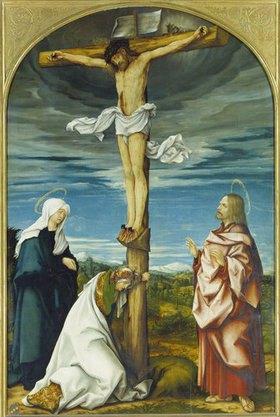Hans Burgkmair d.Ä.: Kreuzigungsaltar, Mitteltafel: Christus am Kreuz mit Maria, Johannes Ev., Maria Magdalena