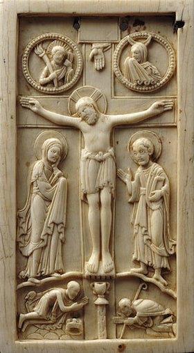 Unbekannt: Kreuzigung Christi mit Stifterfiguren
