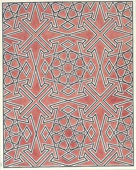 Friedrich Maximilian Hessemer: Holzvertäfelung aus der Moschee Lashar in Kairo. Arabische und Alt-Italienische Bau-Verzierungen, Entwurf für Tafel I