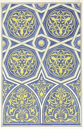Friedrich Maximilian Hessemer: Verzierung der Decke in der Moschee des Galeon el Alfi auf der Citadelle zu Kairo. Arabische und Alt-Italienische Bau-Verzierungen, Entwurf für Tafel I