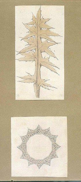Friedrich Maximilian Hessemer: Reiseskizzen, Arabesken. Sammelband III, Seite 45 mit zwei eingeklebten Zeichnungen:  Ohne Titel (Studie eines Distelblattes)  Ohne Titel (Studie einer Rosette)