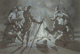Giovanni Battista Paggi: Hirten und Schäferinnen wärmen sich an einem nächtlichen Feuer
