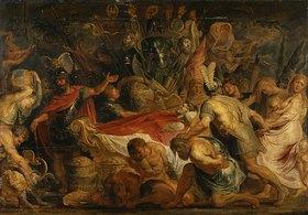 Peter Paul Rubens: Die Leichenfeier des römischen Feldherrn Decius Mus. Ölskizze auf Holz, 87x124cm