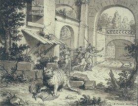 Bernard Picart: Fabelillustration: Die Katze und die Fledermaus