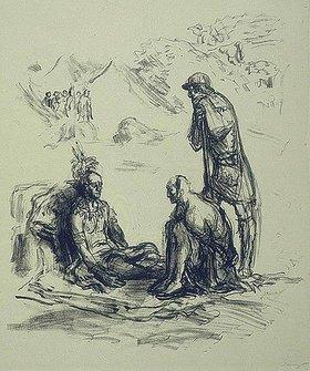 Max Slevogt: Illustration zu Lederstrumpf: Chingachgook und Falkenauge beim toten Unkas