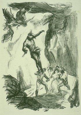 Max Slevogt: Illustration zu Lederstrumpf: Uncas springt herab, um Cora zu retten