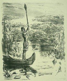 Max Slevogt: Illustration zu Lederstrumpf: Chingachgook im Kanu hebt das Ruder hoch