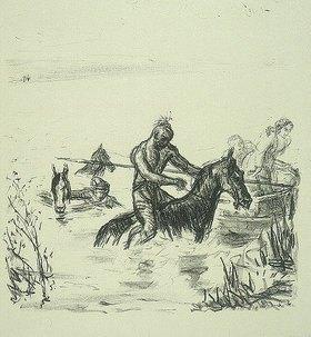 Max Slevogt: Illustration zu Lederstrumpf: Flucht durch den Fluß