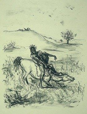 Max Slevogt: Illustration zu Lederstrumpf: Der schwebende Adler tötet den Alten auf der Flucht